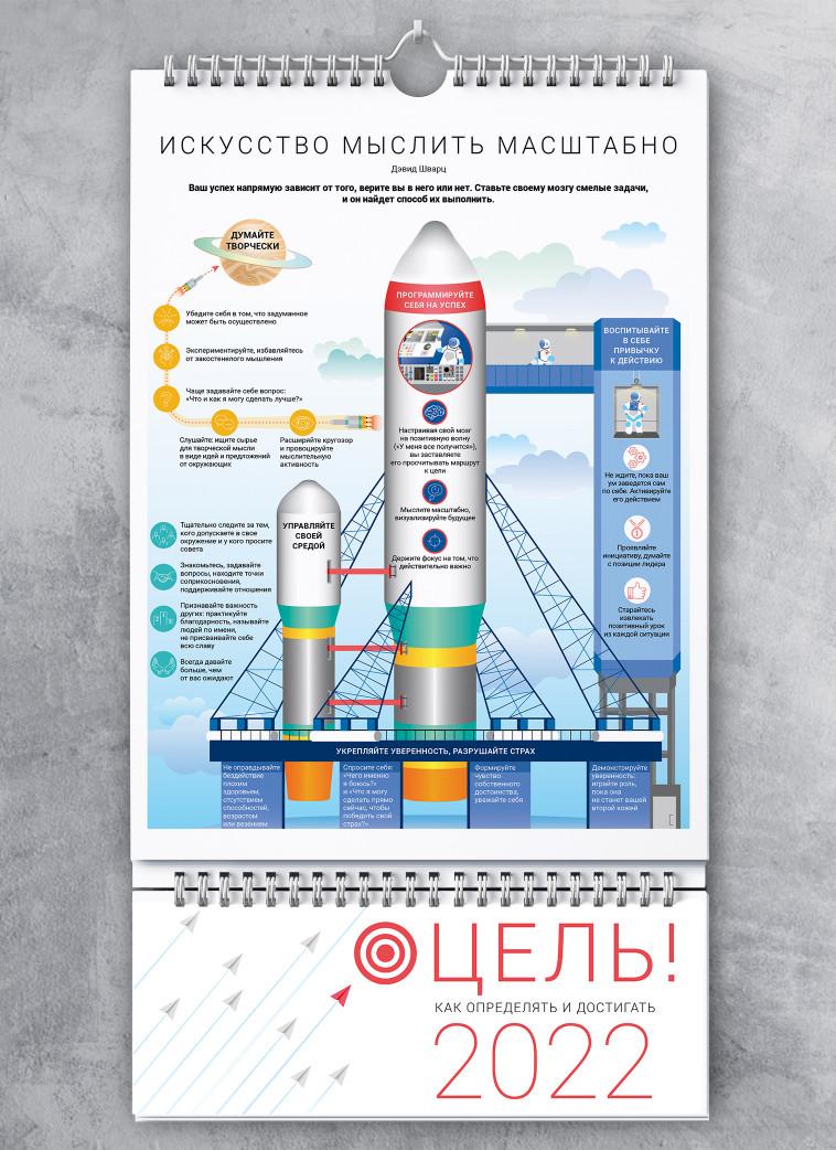 Умный настенный календарь на 2022 год «Цель! Как определять и достигать» (на русском языке)